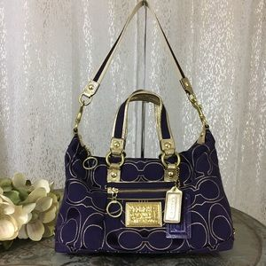 Coach Poppy Signature Lurex Purple Satchel 15861